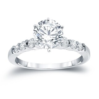Auriya 14k Gold 2 1/2ct Round Moissanite and 1/3ct TDW Diamond Engagement Ring