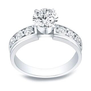 Auriya 14k Gold 1ct Round Moissanite and 1/2ct TDW Diamond Engagement Ring