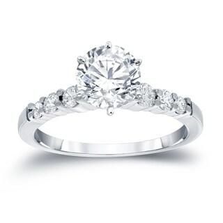 Auriya 14k Gold 1 1/2ct Round Moissanite and 1/3ct TDW Diamond Engagement Ring