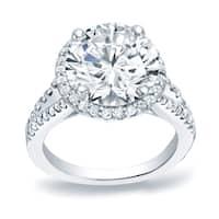 Auriya 14k Gold 1/2cttw Halo Diamond and 1 1/5ct Round Moissanite Engagement Ring