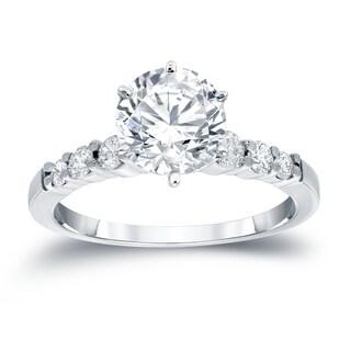 Auriya 14k Gold 3ct Round Moissanite and 1/3ct TDW Diamond Engagement Ring