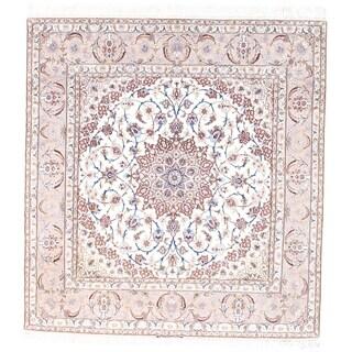 Pasargad NY Persian Isfahan Pink Silk and Korker Wool Handmade Area Rug - 6'9 x 7'3