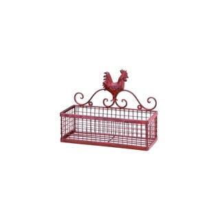 "Red Rooster Wire Metal Wall Basket - 10"" x 5"" x8"""