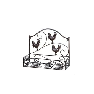 Three Country Roosters Wire Wall Rack