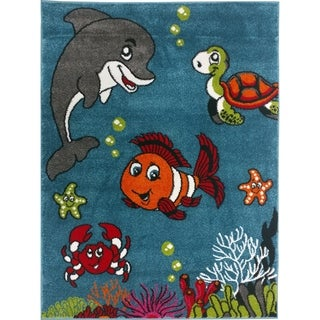 KC Cubs Clown Fish & Sea School Friends Collection Blue Boy and Girl Kids and Children Area Rug