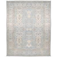 Wool and Silk Tabriz Rug (10' x 14') - 10' x 14'