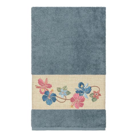 Authentic Hotel and Spa Turkish Cotton Floral Vine Embroidered Teal Blue Bath Towel