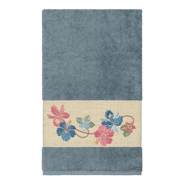 Authentic Hotel and Spa Turkish Cotton Floral Vine Embroidered Teal Blue Bath Towel. Opens flyout.