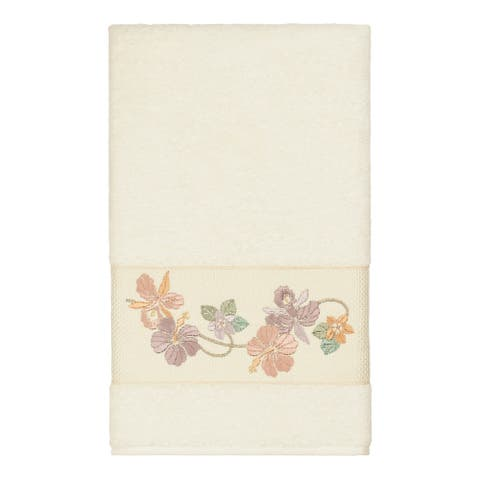 Authentic Hotel and Spa Turkish Cotton Floral Vine Embroidered Cream Bath Towel
