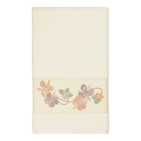 Authentic Hotel and Spa Turkish Cotton Floral Vine Embroidered Cream Bath Towel. Opens flyout.