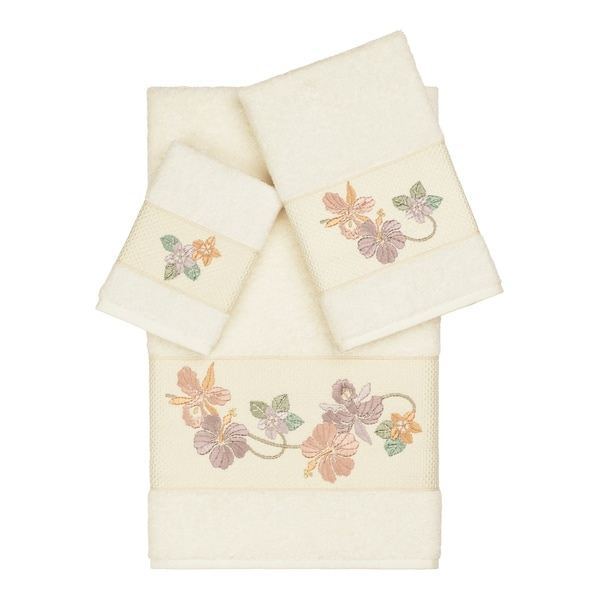 Authentic Hotel and Spa Turkish Cotton Floral Vine Embroidered Cream 3-piece Towel Set