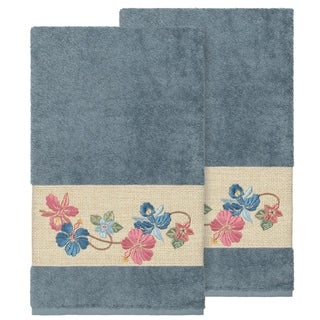 Link to Authentic Hotel and Spa Turkish Cotton Floral Vine Embroidered Teal Blue 2-piece Bath Towel Set Similar Items in Towels