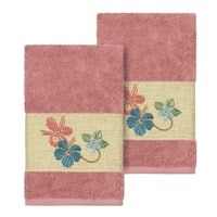 Authentic Hotel and Spa Turkish Cotton Floral Vine Embroidered Tea Rose 2-piece Towel Hand Set
