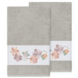 Authentic Hotel and Spa Turkish Cotton Floral Vine Embroidered Light Grey 2-piece Bath Towel Set