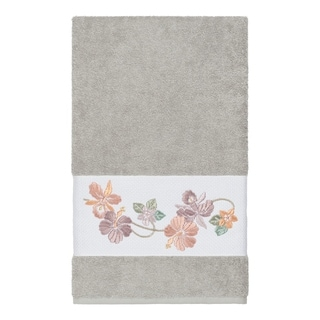 Link to Authentic Hotel and Spa Turkish Cotton Floral Vine Embroidered Light Grey Bath Towel Similar Items in Towels