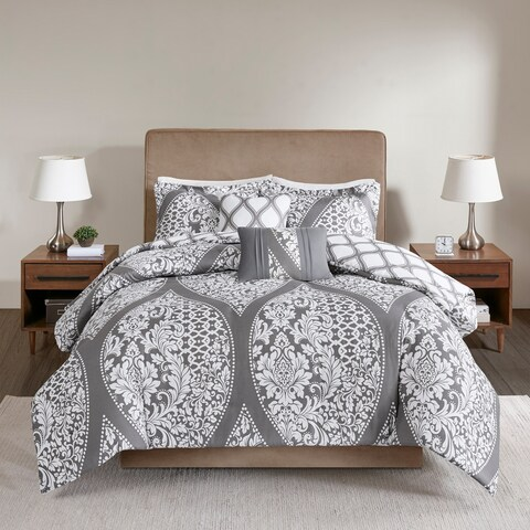 510 Design Rozelle Grey 5 Piece Reversible Print Duvet Set
