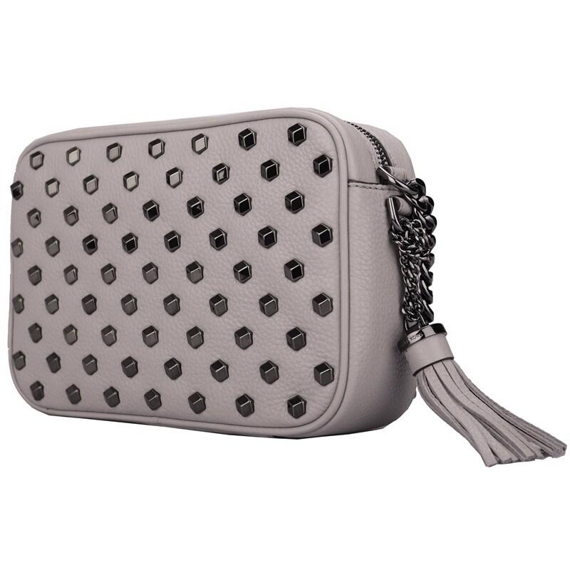 Michael Kors Ginny Studded Medium Leather Camera Bag Grey