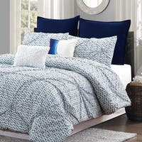Style Quarters Blue Batik 7pc Comforter Set - 100% Cotton - Blue and White Pintuck Look - Machine Washable - Queen