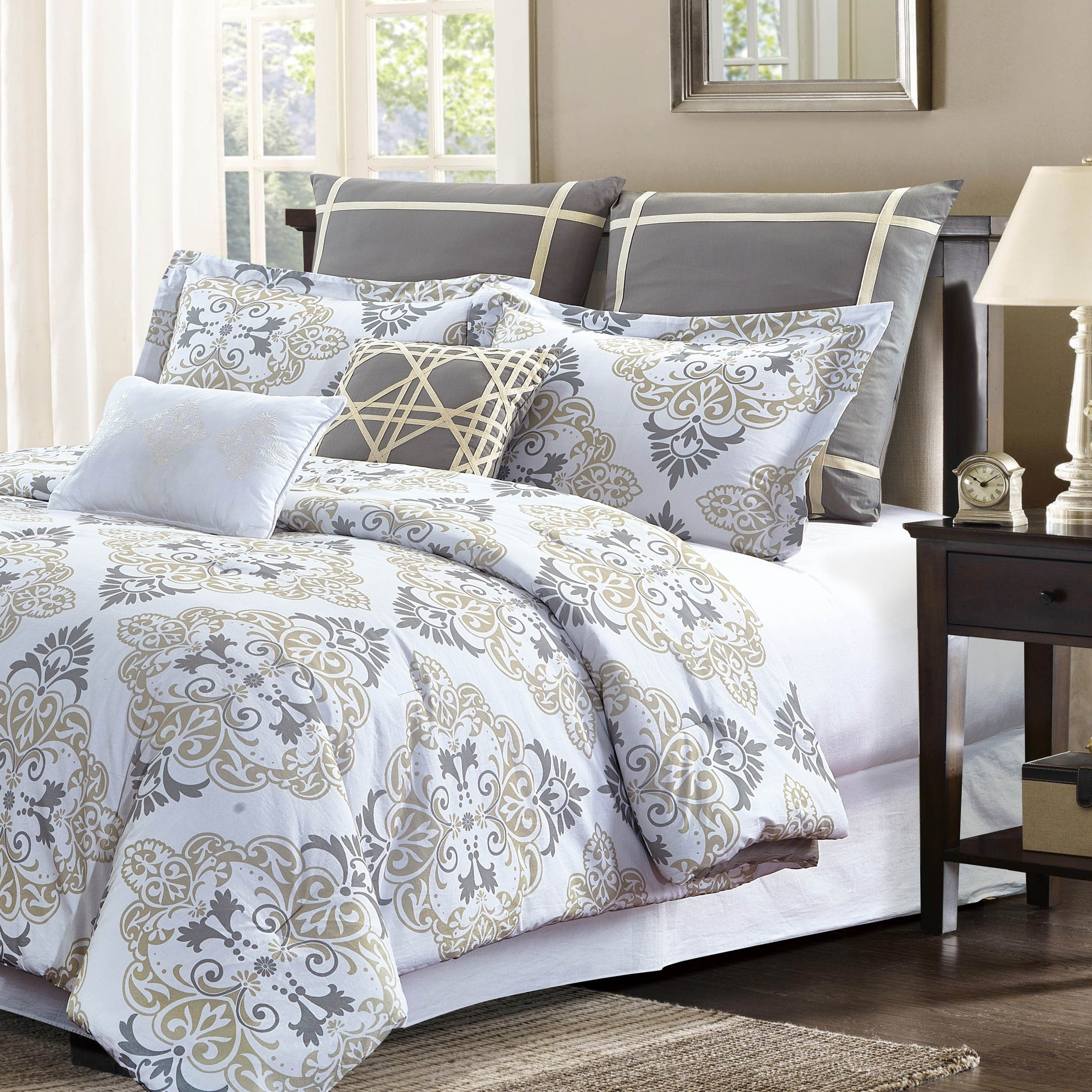 Shop Style Quarters Suri 7pc Comforter Set   Gray and Taupe Damask