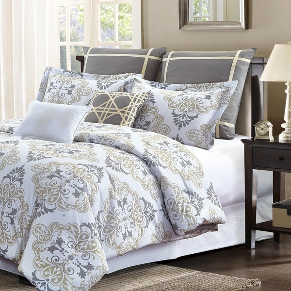 Style Quarters Suri 7pc Comforter Set - Gray and Taupe Damask Print - 100% Cotton - Machine Washable - King