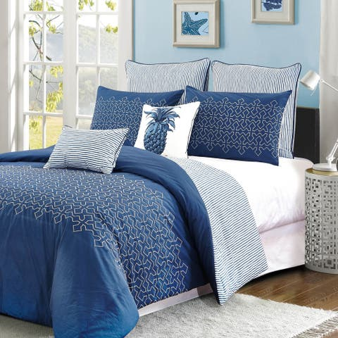 Style quarters Meadow Lane 7pc 100% Cotton Blue and White Geometric Embroidered Comforter Set - Machine washable - King
