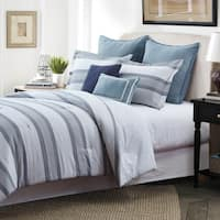 Style Quarters Hudson 7pc Comforter Set - Gray and White Stripes with Accents of Blue - 100% Cotton - Machine Washable - Queen