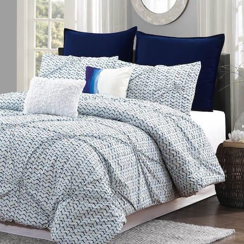 Style Quarters Blue Batik 7pc Comforter Set - 100% Cotton - Blue and White Pintuck Look - Machine Washable - King