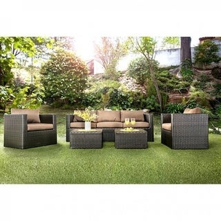 Awes trucking Contemporary 5 Piece Aluminum Patio Set, Espresso Brown
