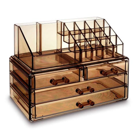 Jewelry and Makeup Organizer Two Pieces Set, Light Brown