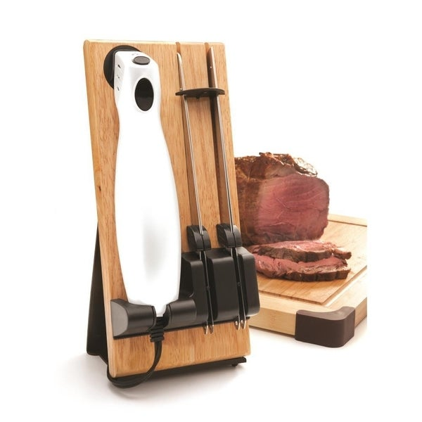 Shop NutriChef-Electric Kitchen Knife With Wooden Storage