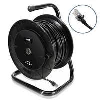 Pyle Heavy Duty Extension Cable Reel - Portable 166 ft Electrical Power Cord Cat 5 w/ Male & Female RJ45 Connector