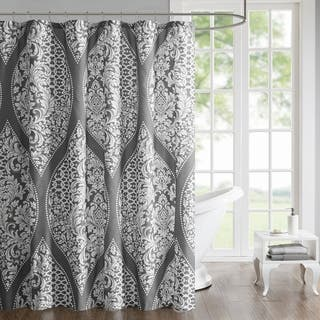510 Design Rozelle Grey Printed Shower Curtain
