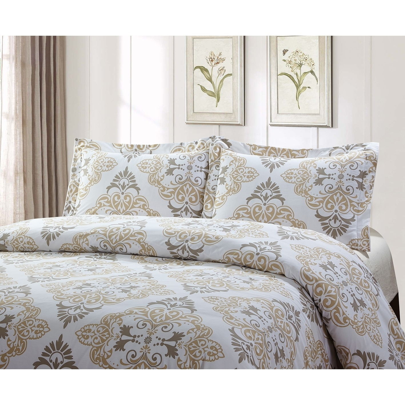 Style Quarters Suri 3pc Duvet Set Gray And Taupe Damask Print 100 Cotton Button Closure Machine Washable King Overstock 21861840