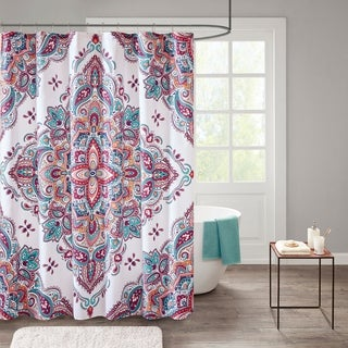 510 Design Emmi Printed Shower Curtain (Option: indigo/purple)