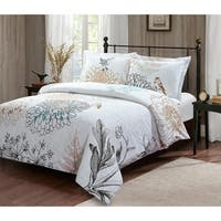 Style Quarters Birdie 3pc Duvet Set-Botanical Floral and Birds on White Ground-100% Cotton-Button Closure-Machine Washable-King
