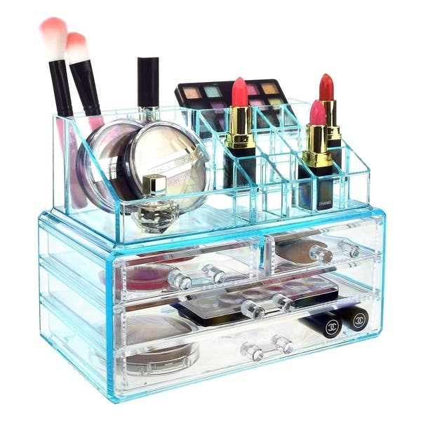 Shop Ikee Design Jewelry And Makeup Organizer Two Pieces Set Blue Free Shipping On Orders Over 45 Overstock 21861847