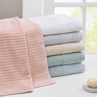 Madison Park Spa Waffle Jacquard 600 GSM Combed Cotton 6 Piece Towel Set