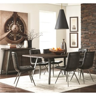 Loft Living Hand-Crafted Industrial Design Distressed Live Edge Wood Dining Set with Buffet Server