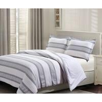 Style Quarters Hudson 3pc Duvet Set - Gray and White Stripes - 100% Cotton - Button Closure - Machine Washable - King