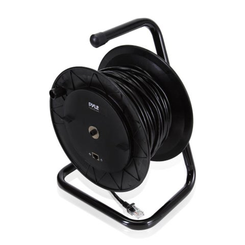 Pyle Heavy Duty Extension Cable Reel - Portable 83 ft Power Cord Industrial Grade Cat 5 with Male & Female RJ45 Connector