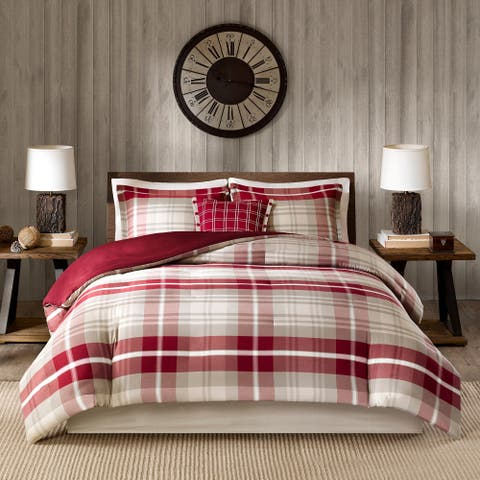 Woolrich Sheridan Tan/Red Yarn Dyed 100-Percent Cotton 4 Piece Duvet Cover Set
