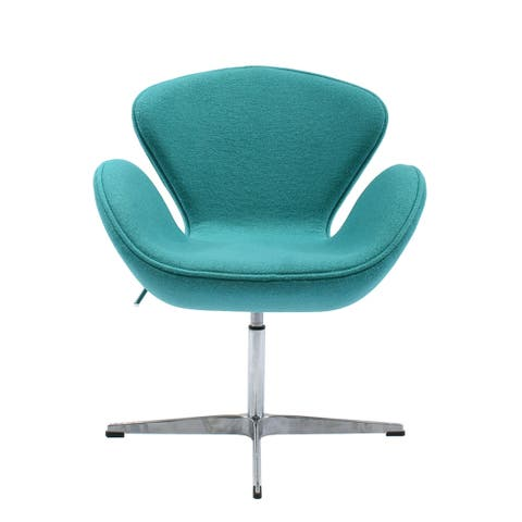 Cashmere Upholstered Adjustable Swivel Lounge Swan Chair