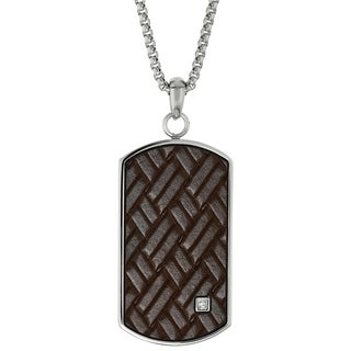 Stainless Steel and Wood Cross Pendant Necklace