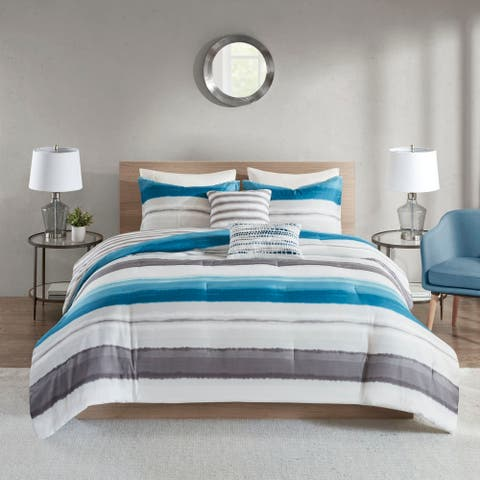 510 Design Ogdon Indigo 5 Piece Reversible Print Comforter Set