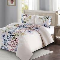 Style Quarters Dahlia Lane 3pc Duvet Cover Set-Multi-Floral Stems with White Leafy Silhouettes-100% Cotton-Machine Washable-King