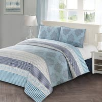 Style Quarters Lilou 3pc Duvet Cover Set -Blue Gray and White Block Print - 100% Cotton - Machine Washable - King