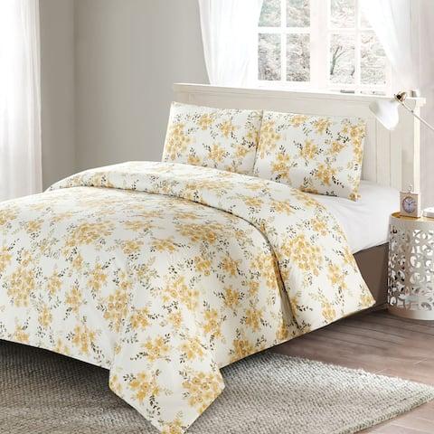 Style Quarters Savanah Floral 3pc Duvet Cover Set-Yellow Watercolor Savannah Floral Pattern-100% Cotton-Machine Washable - Queen