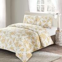Style Quarters Savanah Floral 3pc Duvet Cover Set-Yellow Watercolor Savannah Floral Pattern-100% Cotton-Machine Washable - King
