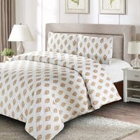 Style Quarters Gold Leaf 3pc Duvet Cover Set - Abstract Gold Leaves Pattern - 100% Cotton - Machine Washable - Queen