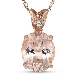 Bliss 14k Rose Gold 2 ct TW Ioval Morganite & Diamond Pendant - White